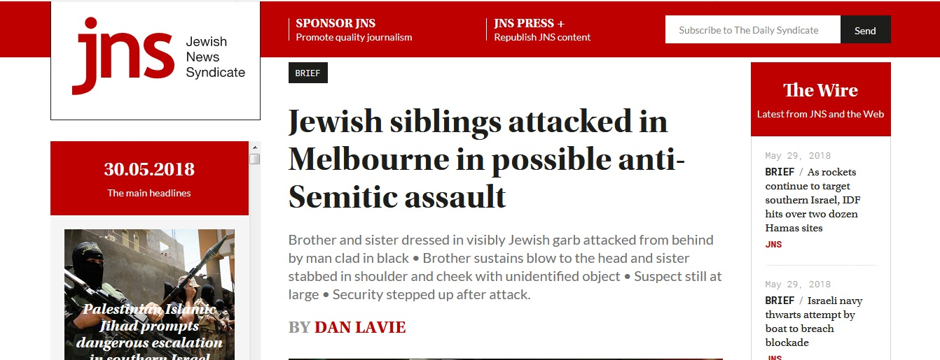 Jewish siblings attacked in Melbourne in possible anti